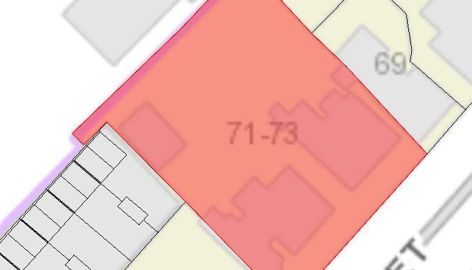 Property boundary 71-73 Warwick Street
